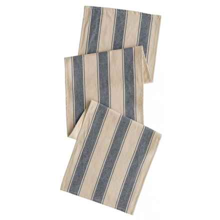 "THRO Douver Stripe Table Runner - 16x72"" in Natural Blue - Closeouts"