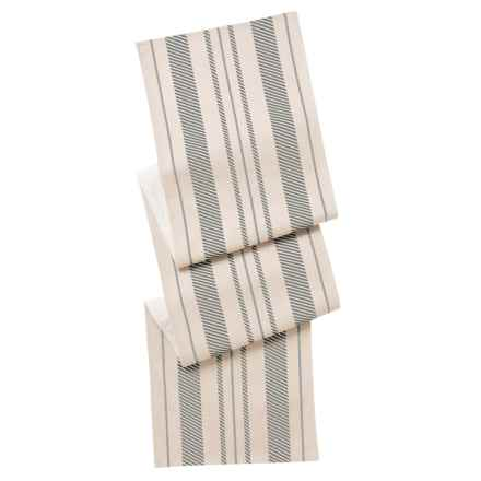 "THRO Fannie Farmhouse Striped Table Runner - 16x80"" in Natural Charcoal - Closeouts"