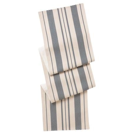 """THRO Fannie Farmhouse Striped Table Runner - 16x80"""" in Natural Indigo"""