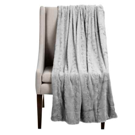 """Thro Hackett Collection Faux-Fur Throw Blanket - 50x60"""" in Silver - Closeouts"""