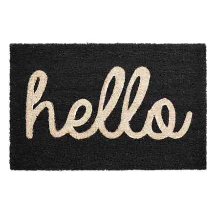 "THRO Hello Script Coir Doormat - 18x28"" in Black - Closeouts"