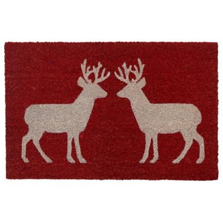 """THRO Holiday Coir Doormat - 18x28"""" in Reindeer"""