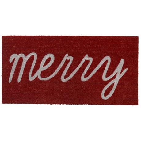 """THRO Holiday Coir Doormat - 20x40"""" in Merry"""