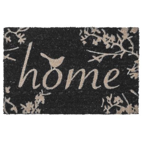 "THRO Home Birds Coir Doormat - 18x28"" in Black/White"