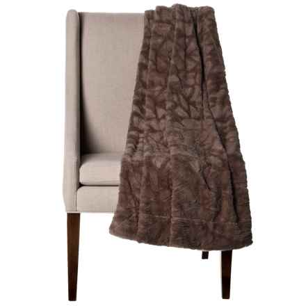 "Thro Home Mosaic Faux-Fur Throw Blanket - 50x60"" in Coffee - Closeouts"