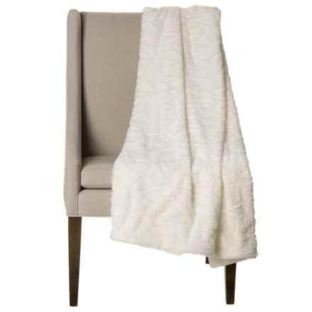 "Thro Home Mosaic Faux-Fur Throw Blanket - 50x60"" in Egret - Closeouts"