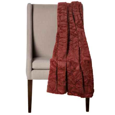 "Thro Home Mosaic Faux-Fur Throw Blanket - 50x60"" in Fired - Closeouts"