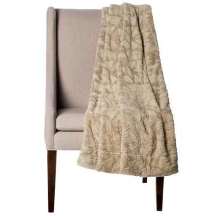 """Thro Home Mosaic Faux-Fur Throw Blanket - 50x60"""" in Humus - Closeouts"""