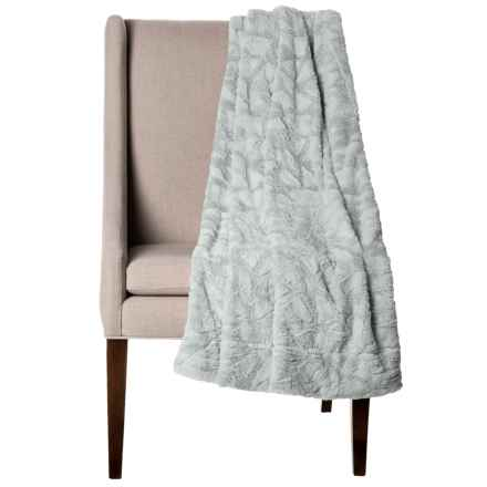 "Thro Home Mosaic Faux-Fur Throw Blanket - 50x60"" in Silver - Closeouts"