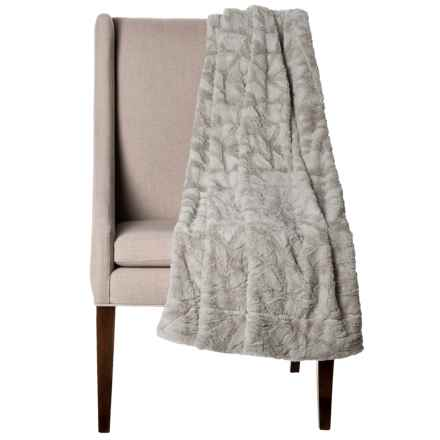 """Thro Home Mosaic Faux-Fur Throw Blanket - 50x60"""" in Vapor - Closeouts"""