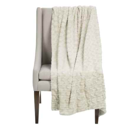 """Thro Jade Collection Faux-Fur Decorative Throw Blanket - 50x60"""" in Antique White - Closeouts"""