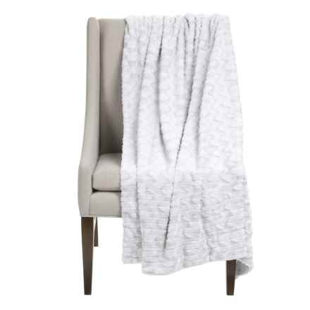 """Thro Jade Collection Faux-Fur Decorative Throw Blanket - 50x60"""" in Bright White - Closeouts"""
