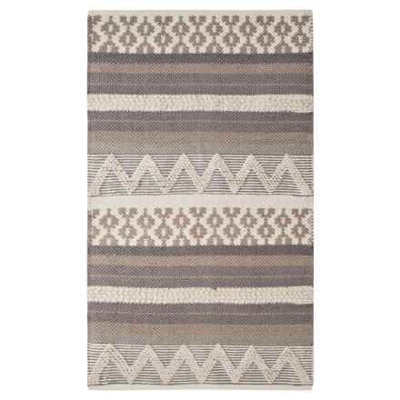 """THRO Jayden Accent Rug - 27x45"""", Cotton in Silver - Closeouts"""