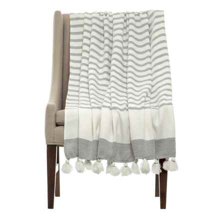 THRO Jenessa Griffin Striped Blanket in Grey - Closeouts