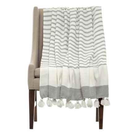 THRO Jenessa Griffin Striped Blanket in Grey - Closeouts