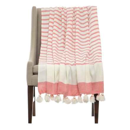 "THRO Jenessa Porcelain Rose Striped Blanket - 50x60"" in Peach - Closeouts"
