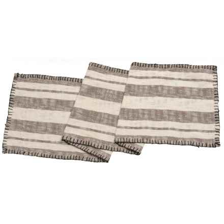"""THRO Jenna Stripe Whip-Stitch Table Runner - 16x72"""" in Grey - Closeouts"""