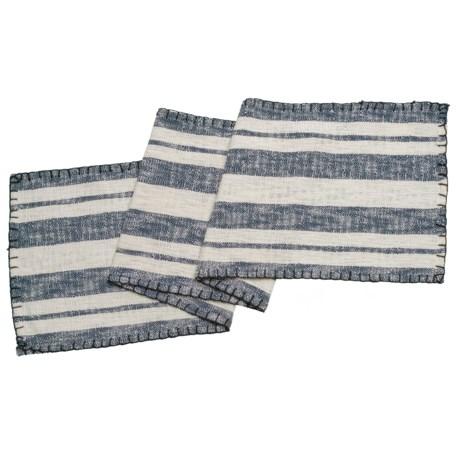 "THRO Jenna Stripe Whip-Stitch Table Runner - 16x72"" in Navy"
