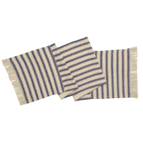 "THRO Katie Fringe Table Runner - 16x72"" in Natural Navy"