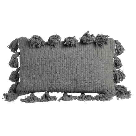"Thro Kelsey Collection Textured Throw Pillow - 12x20"" in Charcoal - Closeouts"