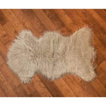 "THRO Kendall Faux-Sheepskin Accent Rug - 27x45"" in Oatmeal - Closeouts"