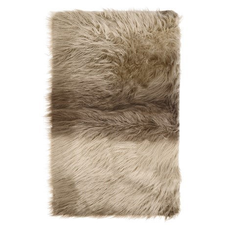 "THRO Kimber Faux-Fur Scatter Rug - 27x45"", Grippy Backing in Fungi"