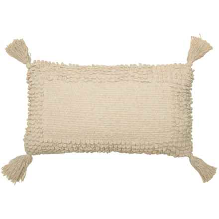 "THRO Lisburn Chenille Tassel  Pillow - 12x20"" in Natural - Closeouts"