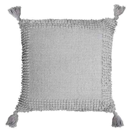 "THRO Lisburn Chenille Tassel Pillow - 20x20"" in Vapor - Closeouts"