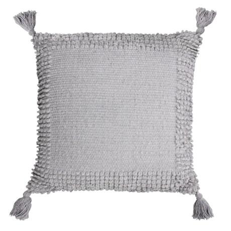 """THRO Lisburn Chenille Tassel Pillow - 20x20"""" in Vapor"""