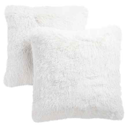 Thro Lorenz Chubby Faux-Fur Pillows - Set of 2 in Bright White - Closeouts