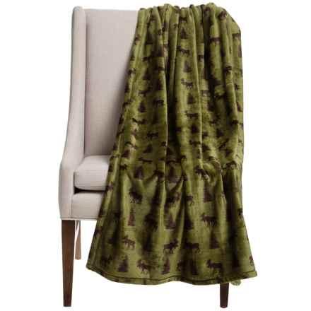 "Thro Moose Pine Fleece Throw Blanket - 50x60"" in Avocado Green/Brown - Closeouts"