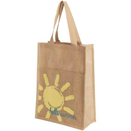 """Thro Natural """"Hello Summer"""" Commuter Tote Bag - Jute in Turquoise - Closeouts"""
