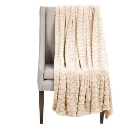 """Thro Ollie Collection Faux-Fur Throw Blanket - 50x60"""" in Papyrus - Closeouts"""