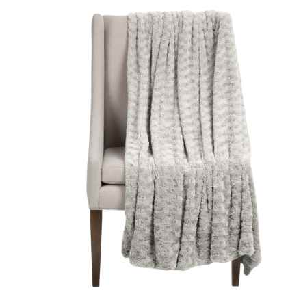 "Thro Ollie Collection Faux-Fur Throw Blanket - 50x60"" in Silver - Closeouts"
