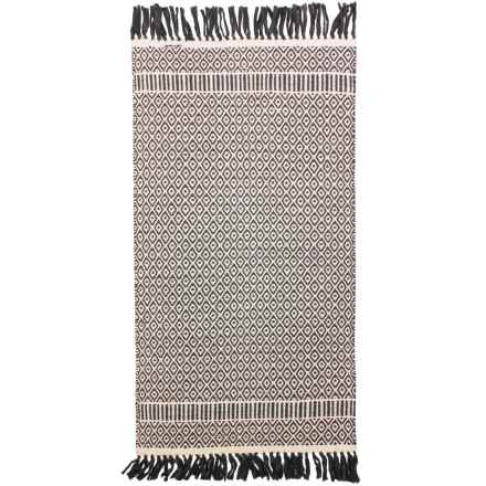 "Thro Perna Handwoven Cotton Accent Rug - 27x45"" in Charcoal Gray - Closeouts"