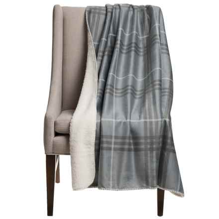 "Thro Pete Plaid Sherpa-Lined Throw Blanket - 50x60"" in Charcoal - Closeouts"