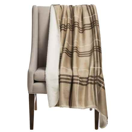 """Thro Pete Plaid Sherpa-Lined Throw Blanket - 50x60"""" in Humus - Closeouts"""