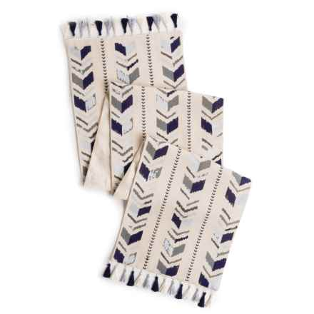 """THRO Pocahontas Embroidered Table Runner - 14x72"""" in Zen Blue - Closeouts"""