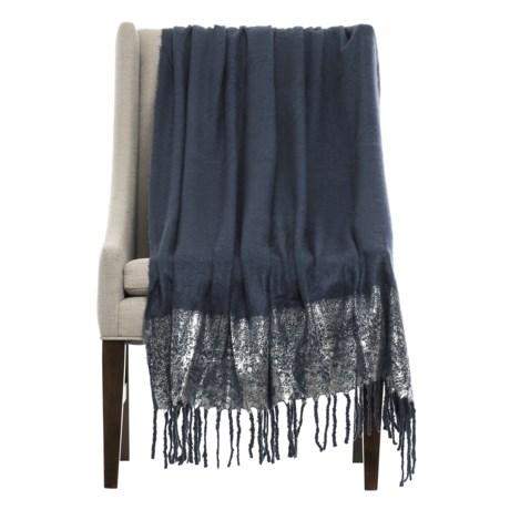 "THRO Ryan Foil-Print Throw Blanket - 50x60"" in Parisian Night/Silver"