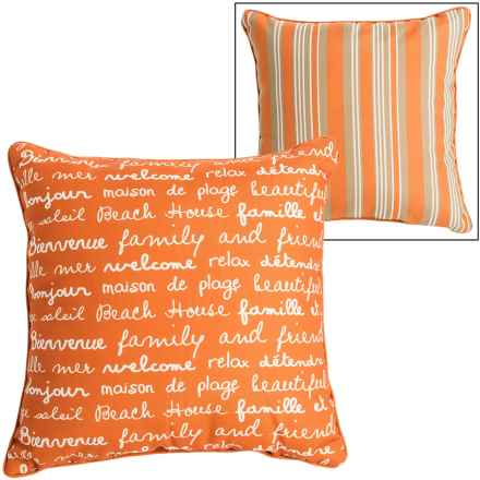 "Thro Script and Stripe Indoor-Outdoor Pillow - 20x20"" in Burnt Orange - Closeouts"