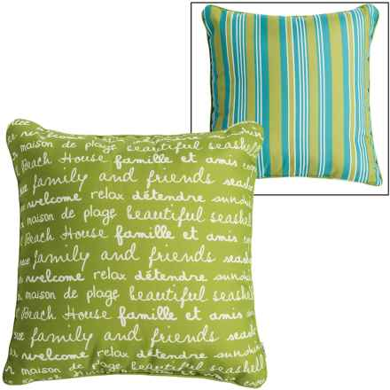 "Thro Script and Stripe Indoor-Outdoor Pillow - 20x20"" in Dark Citron - Closeouts"