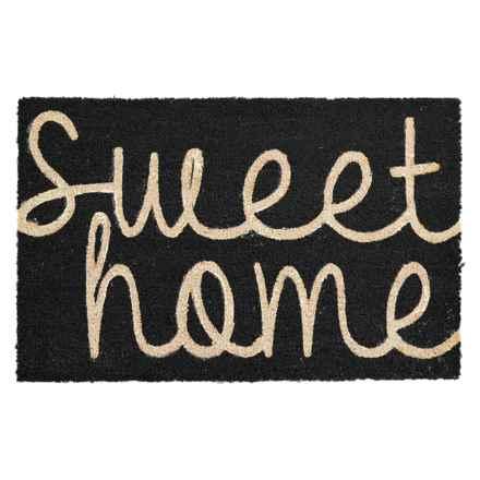 "THRO Sweet Home Script Coir Doormat - 18x28"" in Black - Closeouts"