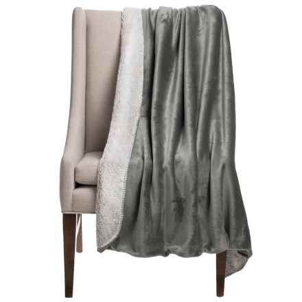 "Thro Vina Collection Sherpa Fleece Throw Blanket - 50x60"" in Charcoal - Closeouts"