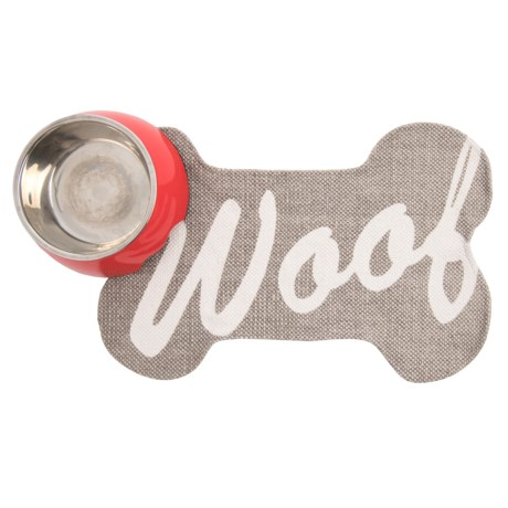 """THRO Woof Script Bone Shaped Dog Placemat - 13x20"""" in String Bright White"""