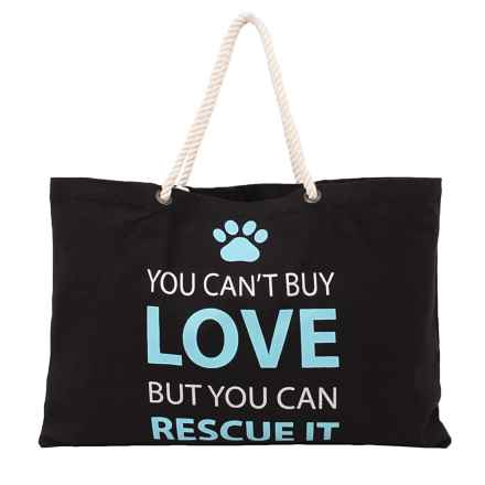"""THRO You Can't Buy Love Tote Bag - 22x15"""" in Black - Closeouts"""