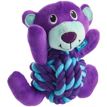 Throw Me A Bone Rope Ball Dog Toy - Bear in Purple - Closeouts