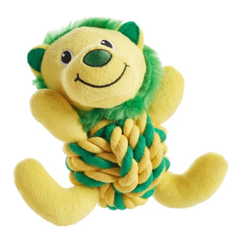 Throw Me A Bone Rope Ball Dog Toy - Lion in Yellow