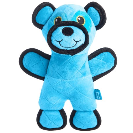 Throw Me a Bone Tough Quilted Squeaker Dog Toy - Bear in Blue