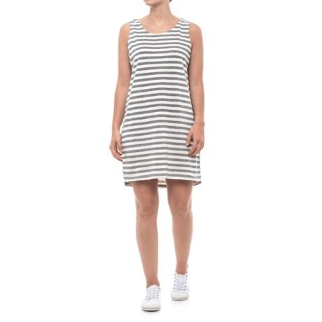 Thyme & Honey Back Tie Striped Dress - Sleeveless (For Women) in Grey Heather/Eggwhite