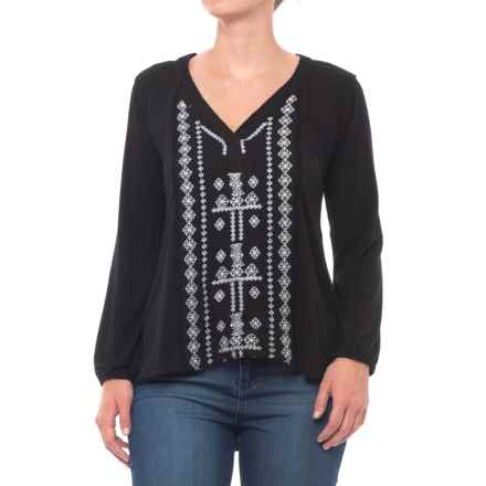 Thyme & Honey Embroidered High-Low Shirt - Long Sleeve (For Women) in Black/Eggwhite - Closeouts